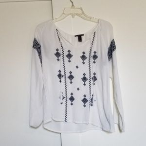 Forever 21 White Peasant Blouse